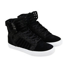Supra Skytop Mens Black Suede High Top Lace Up Sneakers Shoes