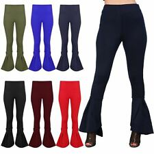 Womens Bell Bottom Ruffle Frill High Waisted Ladies Trousers Palazzo Cigarette