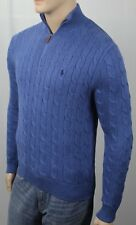 POLO Ralph Lauren Blue Cable Knit 1/2 Half Zip Sweater Navy Pony NWT