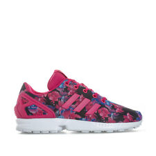 Junior Girls adidas Originals Zx Flux Trainers Pink Lace Fastening Padded Tongue