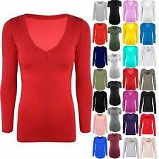 Womens V Neck Jersey Casual Top Ladies Basic Stretchy Long Sleeves Tunic T Shirt