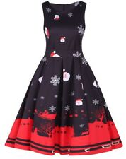 Christmas PARTY DRESS Belted Sleeveless Flared Swing BLACK Vintage 1950's Retro