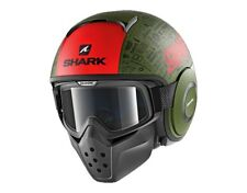CASCO SHARK DRAK RAW TRIBUTE RM MAT MASHERA INCLUSA JET INTEGRALE VERDE ROSSO