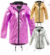 Womens Silver Metallic Rain Mac Waterproof Raincoat Gold Jacket Size 8 - 16