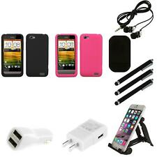 For HTC One V Silicone Skin Rubber Soft Case Phone Cover Combo