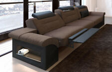 Design Stoff Dreisitzer Monza Luxus Couch LED Beleuchtung Relaxfunktion Big Sofa