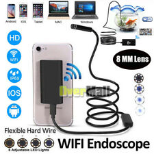 8mm HD Endoscope Snake Borescope Hard Inspection Camera 2MP For Android iPhone