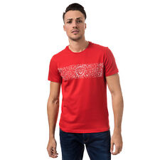 Mens Duck And Cover Clarke Logo T-Shirt In Red- Short Sleeve- Ribbed Collar-