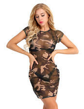 Women Sexy Mesh See Through Camouflage Bodycon Cocktail Evening Party Mini Dress