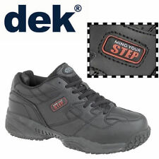 """DEK """"Cruiser"""" Mens Black Trainers Synthetic Leather Comfort Gents Lace Up Shoes"""