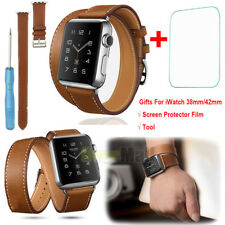 Genuine Leather Watch Band Double Tour Bracelet Strap For iWatch 38mm/42mm +Film