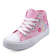 GIRLS KIDS CHILDRENS PINK CANVAS ANKLE HI-TOP TRAINER BOOTS SHOES PUMPS UK 3-2