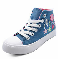 GIRLS KIDS CHILDRENS BLUE CANVAS ANKLE HI-TOP TRAINER BOOTS SHOES PUMPS UK 3-2