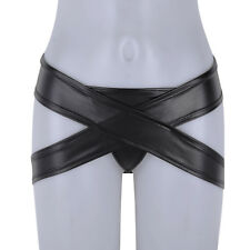 Women Sexy Lingerie Faux Leather Crossed G-string Briefs Underwear Panties Thong