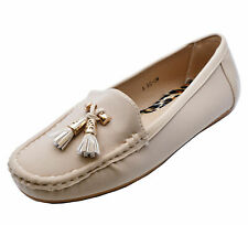 472a0dd8f51 WOMENS BEIGE SLIP-ON PUMPS FLAT WORK MOCCASIN CASUAL COMFY LOAFER SHOES 3-8