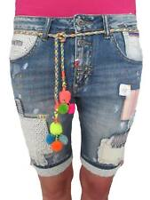 Italy Wiya Blogger Boyfriend Hippie Flicken Patches Denim Shorts Bermuda Damen