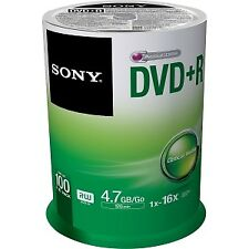 NEW! Sony Dvd Recordable Media Dvd+R 16X 4.70 Gb 100 Pack Spindle 120Mm