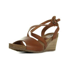Sandales Nu Pieds Kickers femme Spagnol Camel taille Marron Cuir A boucles