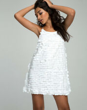 Motel Rocks Macy Vestido Mini en Disco LENTEJUELAS BLANCO (mr87.1)