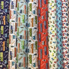 PolyCotton Boys Toys Collection Fat 1/4 50x56cm  and Metre x 100x112
