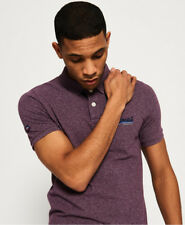 New Mens Superdry Classic Pique Polo Shirt Blackberry Grindle