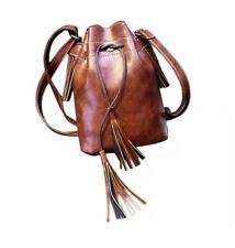 Small Vintage Style PU Leather Drawstring Saddle Bag Bucket Tassel Strap Fashion