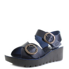 Womens Fly London Yech Bridle Blue Navy Leather Wedge Sandals Sz Size