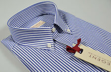 Camicia Pancaldi a righe Azzurro collo Button Down con taschino Regular Fit