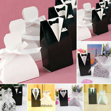 50/100pcs Wedding Favor Candy Gift Box Bride & Groom Dress Tuxedo with Ribbons