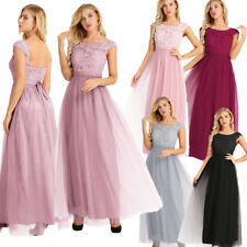 Womens Lace Tulle Dress Formal Evening Party Prom Ball Gown Cocktail Bridesmaid