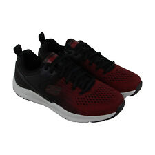 Skechers Nichlas Mens Red Textile Athletic Lace Up Training Shoes