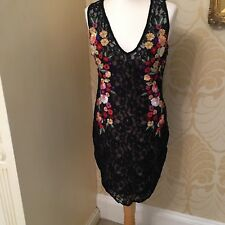 Bnwt Guess designer Dress Black Lace Embroidered Flowers Bodycon  XS-L RRP £100
