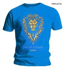Official Blue T Shirt World of WARCRAFT Movie  'For The Alliance' Lion Logo