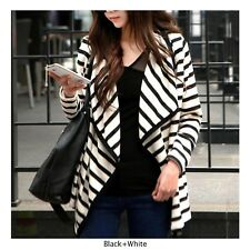 Donna lungo Cardigan a Righe Giacca Manica Casuale Larga Chic