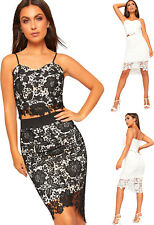 Womens Floral Lace Strappy Lined Crop Top Midi Skirt Co-Ord Set Ladies Zip Back