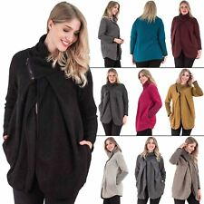 Womens Jacket Cocoon Chunky Ladies Knit Front Pockets Zip Funnel Neck Warm Coat