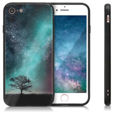 FUNDA PARA APPLE IPHONE 7 8 CASE DE VIDRIO TEMPLADO CON BORDES DE SILICONA