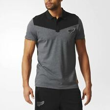 Adidas HOMBRE All Blacks Oficial Polo Gris XS S Rugby Nueva Zelanda Top