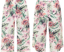 Plus Womens Wide Flared Leg Floral Print 3/4 Culottes New Ladies Trousers Pants