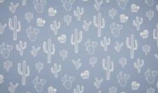 Luxury PRINTED 100% Cotton Heavy Canvas Fabric Craft Material - CACTUS BLUE