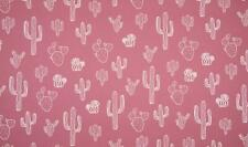 Luxury PRINTED 100% Cotton Heavy Canvas Fabric Craft Material - CACTUS OLD ROSE