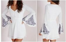 Missguided Crepe Bell Sleeve Henna Print Skater Dress in White (camg91)