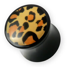 4-14mm Leopardato Acrilico Plug Orecchio Flesh Tunnel Piercing Tubo Rockabilly
