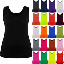 Plus Size Womens Celeb Ruched Vest Ladies Gathered Neck Ruched Stretch Long Top