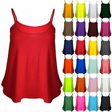 Plus Size Womens Ladies Cami Sleeveless Swing Vest Strappy Plain Flared Tank Top