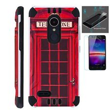 COMBAT GUARD For LG Phone Case Hybrid Cover +TEMPERED GLASS / RED PHONE BOOTH