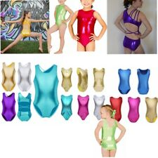 Girl Gymnastic Ballet Metallic Leotard Uniform Kid Tutu Dress Dance Wear Costume