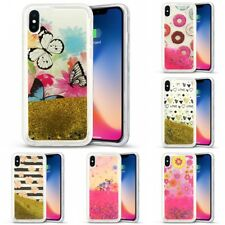 For Apple iPhone X Liquid Moving Glitter Water Design Hard Case Cover