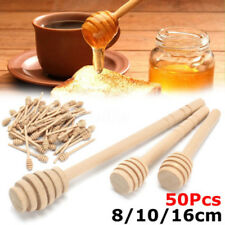 50X Useful Wood Stirring Rod Stick Syrup Spoon Wooden Jam Honey Dipper Drizzler