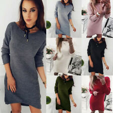 Femmes Pull Loose Chemise Manches Longues Pull-Over Mini Robe Pull Haut